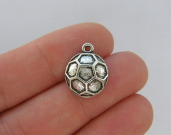 8 Soccer ball charms antique silver tone SP221