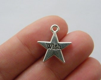 4 Wish upon a star charms antique silver tone M846