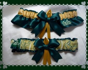 Green Satin Ribbon Fabric Wedding Garter Set Made w USF Fabric