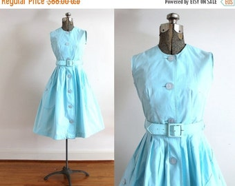 ON SALE 50s Dress / 1950s Cotton Candy Blue Dress / Full Skirt 50s Dress