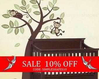 Sale - Tree with Monkeys - Kids Vinyl Wall Sticker Decal Art