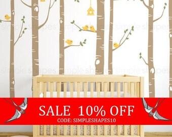 Sale - Birch Tree Wall Decal, Birch Tree Birds Wall Sticker Set, Baby Nursery Wall Decals, Nursery Wall Stickers, Girls Nursery, Boys Nur...