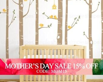Mothers Day Sale - Birch Tree Wall Decal, Birch Tree Birds Wall Sticker Set, Baby Nursery Wall Decals, Nursery Wall Stickers, Girls Nurse...