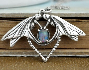 sterling silver twin dragonfly necklace, vintage sterling silver insect necklace with natural opal stone