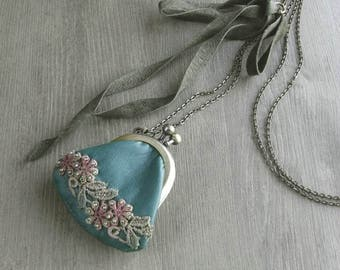 purse necklace - teal leather, hand dyed lace, beaded flower, blue necklace, beaded purse necklace, miniature purse, leather necklace