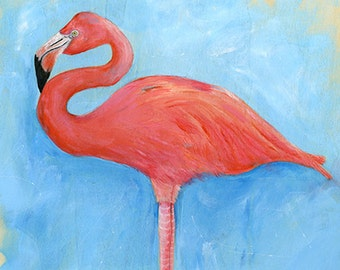 Flamingo art print reproduction, acrylic painting decor, bird art, bird lover, matted print, gift, wall art,contemporary art by Diane Ackers