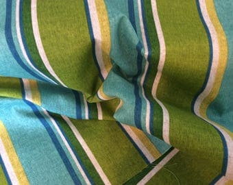 TURQUOISE Apple  Green Royal  Blue And  Mustard  OUTDOOR STRIPE Upholstery  Fabric, 36-47-13-0317