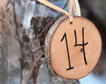 Table Numbers Tags for your Elegant Rustic Chic Wedding Hand Wood Burned