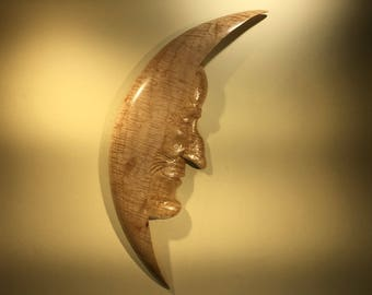 Man in the Moon Wood Carving a Unique Moon Man Sculpture Present