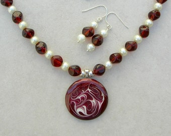 Marsala Swirls, Metal Pendant, Pre-WWII German Glass Beads, Faux Pearls, Sterling Silver Swirled Clasp, Necklace Set by SandraDesigns