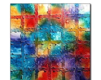 Texture Painting Original Modern Colorful Abstract Painting On Canvas by Henry Parsinia Ready To Hang Large 36x36