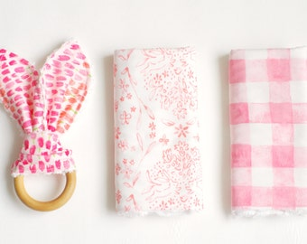 Perfect Baby Gift Bundle- 2 Burp Cloths and Wooden Teething Toy (sommer)-READY TO SHIP