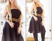 Med Vintage black boho gauze dress, Burning man Mexicali Mexican festival dress, Bohemian gypsy, Black dress Hippie, True rebel clothing
