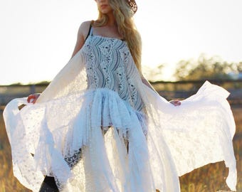 OS Creme Magnolia lace bohemian pearl maxi dress, french market chic boho dress, country  lace sundress, Spring dresses True rebel clothing