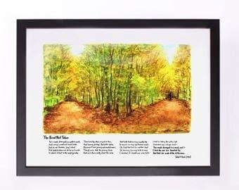 "Art Print Graduation Present ""The Road Not Taken""  Frost Poem Watercolor Painting"