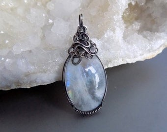 Moonstone Pendant Wire Wrapped Jewelry Handmade, Rainbow Moonstone Silver Pendant, Silver Wire Wrap Pendant, Stone Pendant Oxidized Silver