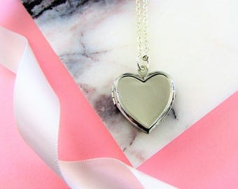 Silver Heart Locket Necklace,Silver Locket,Photo Locket Necklace,Silver Jewelry,Silver Necklace,Bridesmaid Gifts,Gift for Her,anniversary