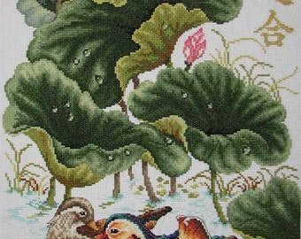New Finished Completed Cross Stitch - Lotus mandarin duck - C95