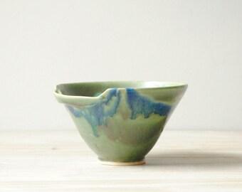 Vintage Handmade Pottery Bowl, Green Ceramic Bowl, Studio Pottery