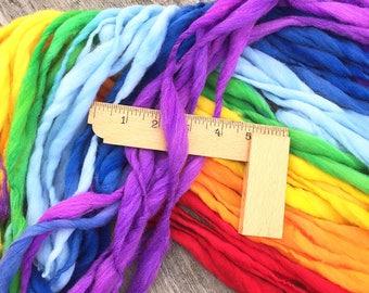 Self striping rainbow yarn, 50 yards, handspun super bulky in merino wool - 3.25 ounces/ 92 grams