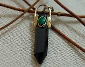 Zelda- Vintage 1989 Black onyx pendant, crystal pendant, vintage pendant, pendant, double point crystal, crystal, teen, boho, for her