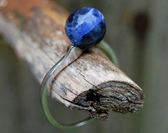 Andromeda - Stunning Sodalite gemstone ring, stacking ring, gemstone ring, for her, fashion, gemstone, sterling silver, ring, astronomy