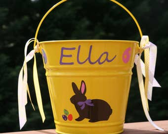 Personalized Easter pail with chocolate Bunny with bow and Easter eggs