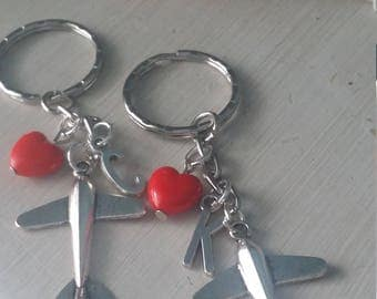 Long distance love couples best friend airplane and custom initial key chains