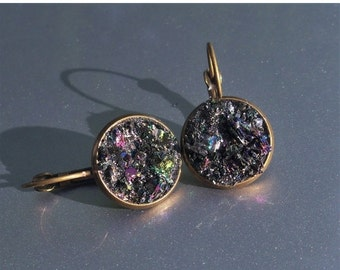 30% OFF Carborundum Crater Brass Druzy French Earrings