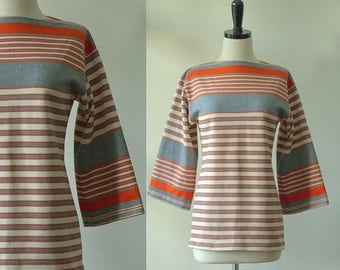 Vintage Womens Tunic 1970s Striped Tunic Top 70s Clothing 1970s Clothes Womens Blouses Hippie Clothing Bell Sleeves Boat Neck Top Size SM