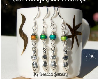 Spiral Goddess Color Changing Mood Earrings, Mood Jewelry, Two-Sided Silver Goddess Earrings, Colorful Mood Beaded Earrings, Unique