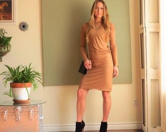 NEW Boho Asymmetric Column Dress Long Sleeves Minimalist Drop Shoulder Knee Length Boat Neck Rayon/Spandex Jersey XS - L (More Colours)