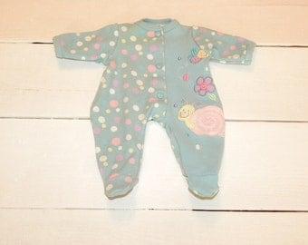 Polka Dot Aqua Footed Sleeper - 14 - 15 inch doll clothes