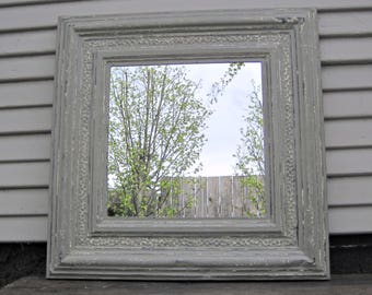 Rustic vintage gray mirror. 2x2 Framed ANTIQUE Ceiling Tin Tile Mirror. Architectural salvage. French country farmhouse mirror decor.