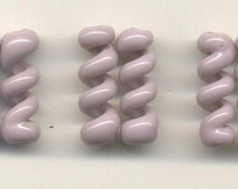 Tom's lampwork opaque pale plum twist cylinder beads, drops, spacers 20mm, 2 beads, 1 pair, 95836