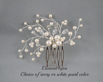 Bridal comb, Ivory pearls hair piece, Wedding hair accessories, White pearls hair comb, Flower hair vines, Rhinestone Crystal comb, Formal
