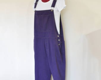 Purple XL Bib OVERALL Pants - Deep Violet Dyed Upcycled Cherokee Denim Overall - Adult Womens Size Extra Large (44 W x 31 L)