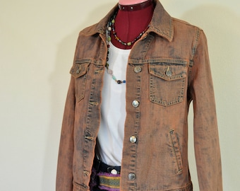 Orange Medium Denim JACKET - Rusty Orange Dyed Upcycled Vintage Geoffrey Beene Denim Trucker Jacket - Adult Womens Size Medium (40 chest)