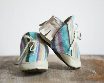 eco-friendly soft sole leather baby mocassins,slippers ,reclaimed leather and wool, striped wool, light green leather fringe. 12-24 months
