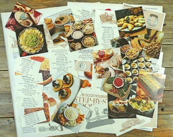 Vintage scrapbooking pack, 40 paper clippings on food and cookery, colourful images, paper craft kit, images and text, food illustrations.