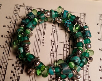 Turquoise and green bracelet.