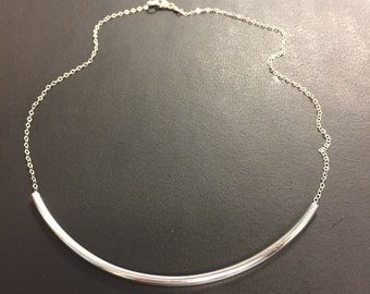 Choker Necklace - Curved Tube Choker Necklace - Sterling Silver Necklace