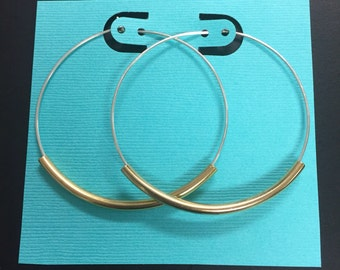 "Extra Large Hoop Earrings - 2 1/4"" Sterling Silver Hoops  - classic hoops or with french hooks - silver, gold or antique gold tubes"