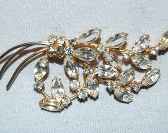 Vintage /Large / Clear / Rhinestone / Brooch / Sparkling / Silver / Old jewelry / jewellery