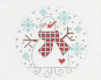 "3 1/2"" Round Snowman chd105 Hand Painted Needlepoint Canvas"