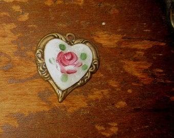 Vintage Guilloche Heart Charm Finding Embellishment Dresden Enamel