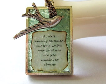 Poetry Necklace, Affirmation Verse Jewelry