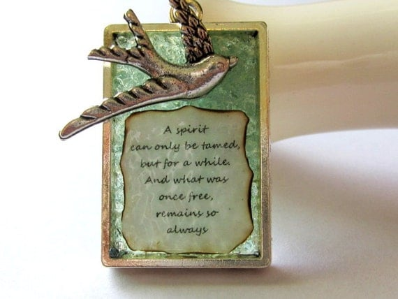Poetry Necklace, Free Spirit Poem, Antiqued Paper Pendant, Phrase Poem Jewelry, Silver Dove Charm, Affirmation Verse