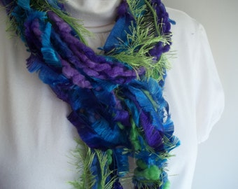 String Scarf,  Purple, Blue, Spring Green,  Knotted Yarn Scarf,   Peacock, Women's Accessory, Teen Scarf