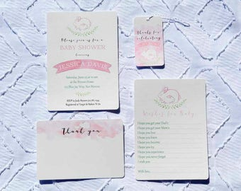 Printable Custom Pink Bunny Baby Shower Collection - Invitation, Wishes for Baby, Favor Tags, Thank You Note